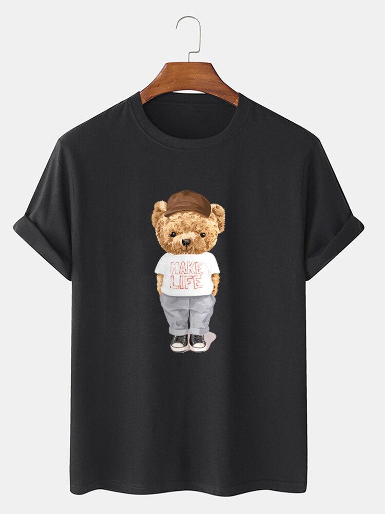 メンズ漫画クマグラフィックス綿100%半袖Tシャツ
