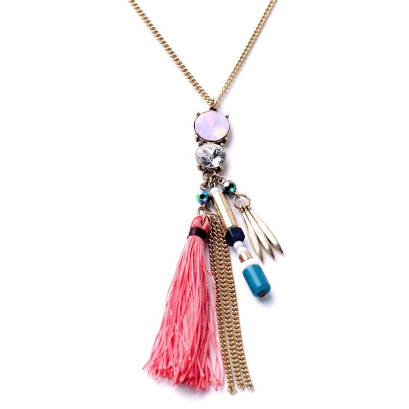 Women's Zircon Pink Tassel Necklaces Long Gold Chain Sweater Female Pendant Necklaces