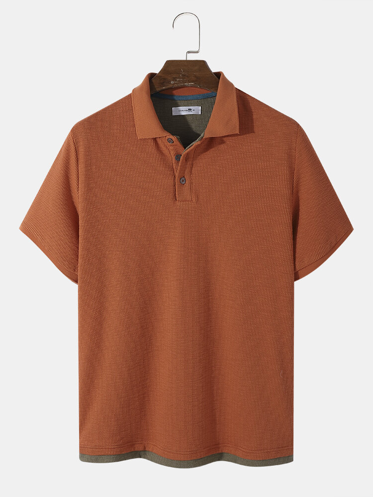 Mens Design Solid Color Knitted Ribbed Texture Short Sleeve Golf Shirt