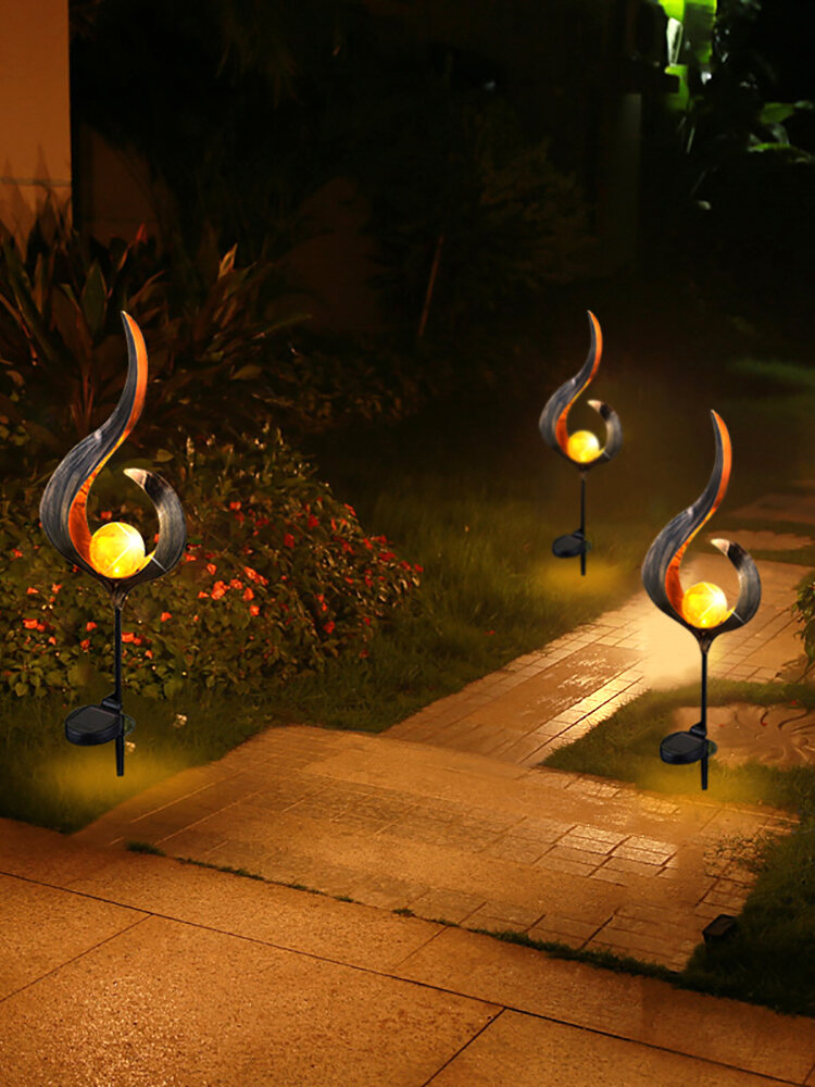 Solar Power Metal LED Ornament Landscape Light Outdoor Flame Effect Lawn Yard Garden