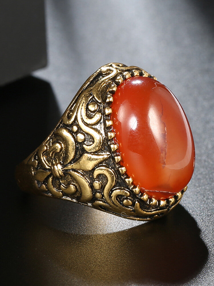 Vintage Metal Carved Rough Stone Ring Geometric Oval Cat Eye Crystal Finger Ring