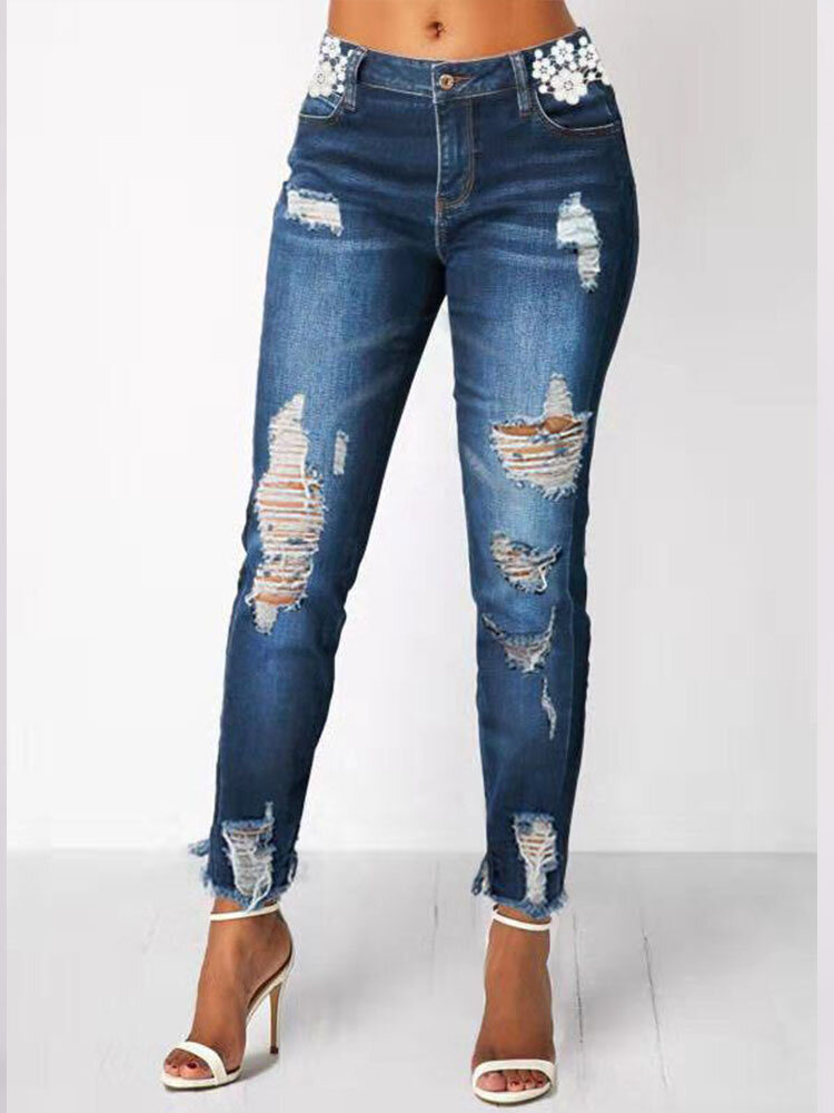 Casual Ripped Zipper Plus Size Pants for Women