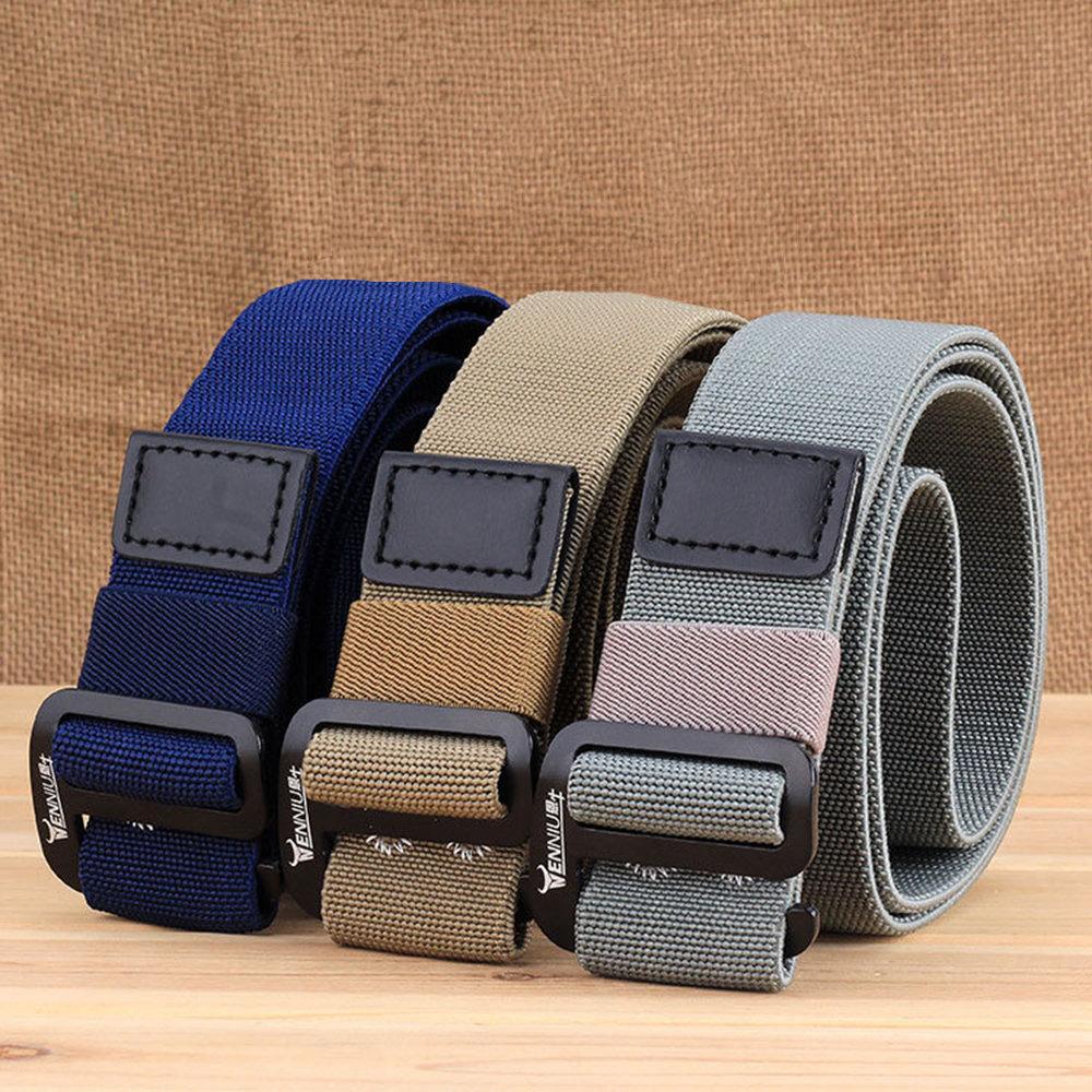 Mens Long Weave Canvas Web Elasticity Belt Outdoor Slider Buckle Durable Adjustable Belt
