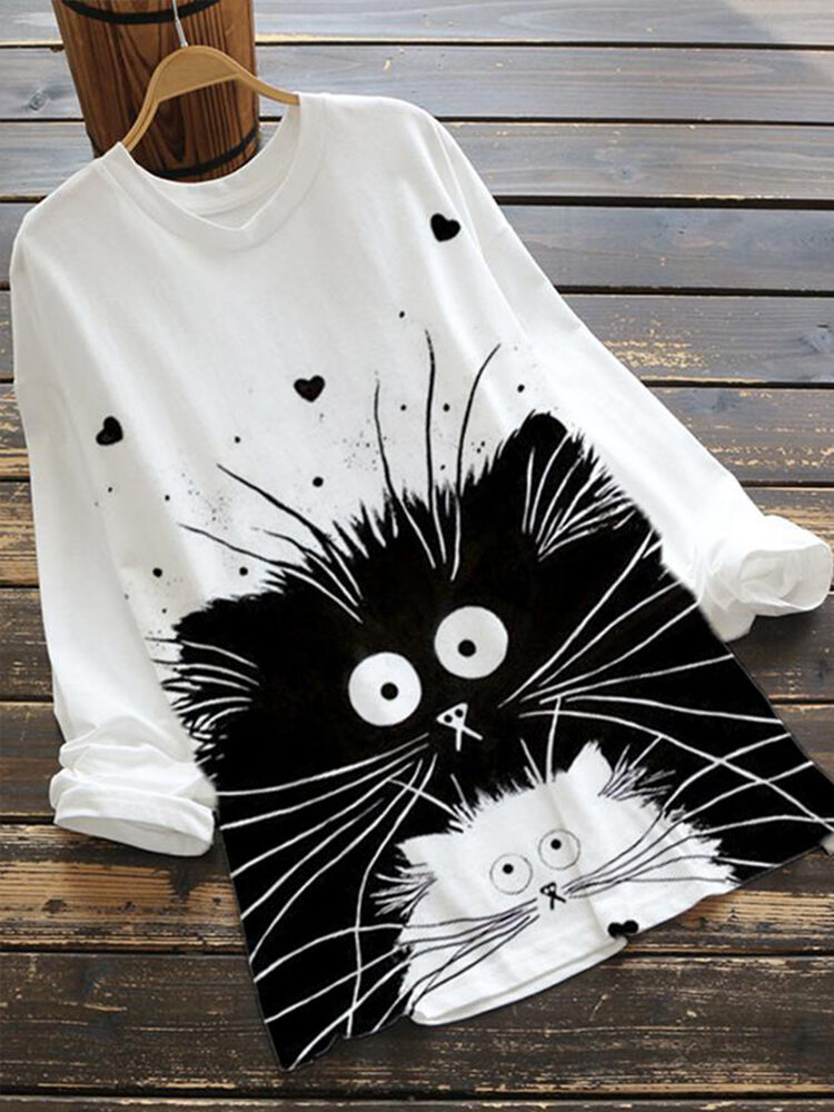 Cartoon Cats Print Long Sleeve Plus Size Blouse