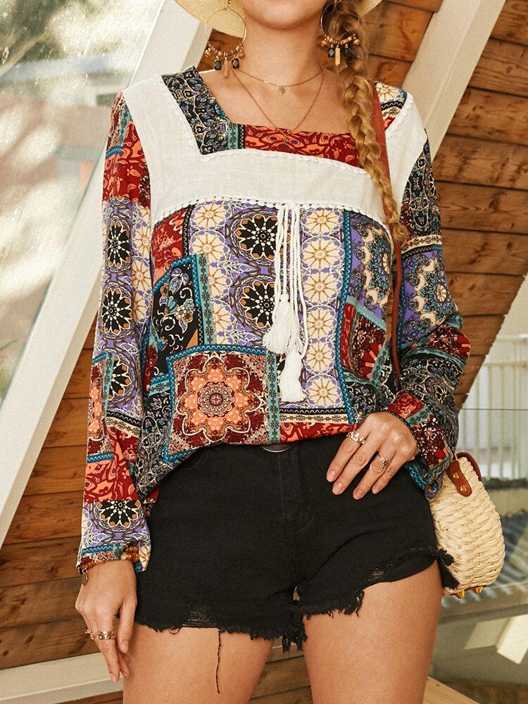 Bohemian Print Patch Square Neck Long Sleeve Tassel Blouse For Women