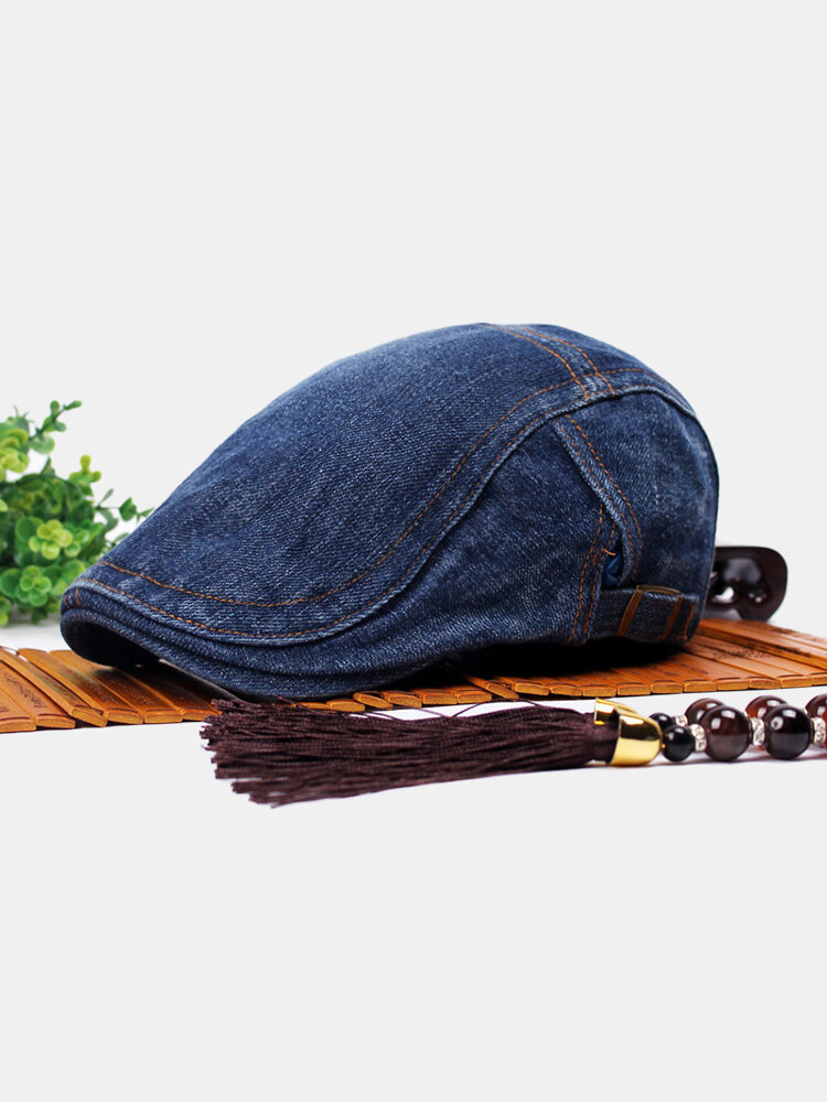 Men Women Vintage Beret Peaked Cap Casual Jean Cowboy Beret Hats Forward Denim Beret Cap