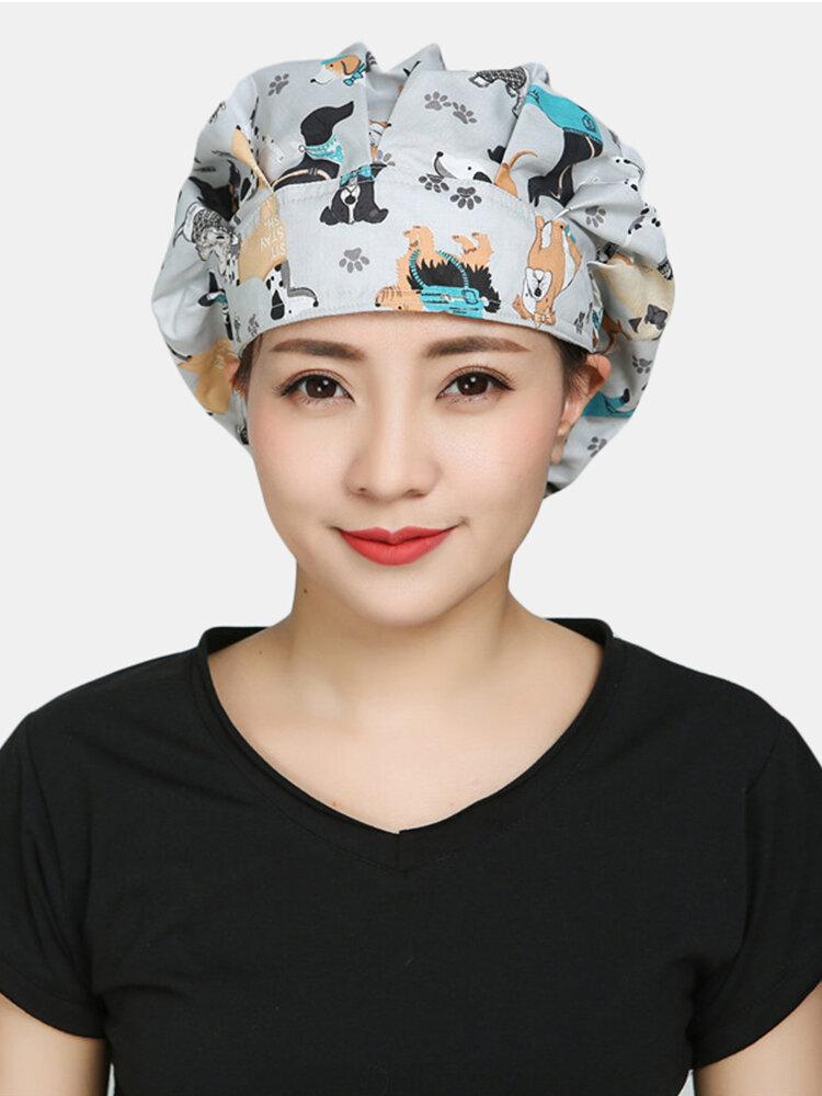 Surgical Caps Scrub Cap Cotton Fabric Nurse Hat Collar Surgery Skull