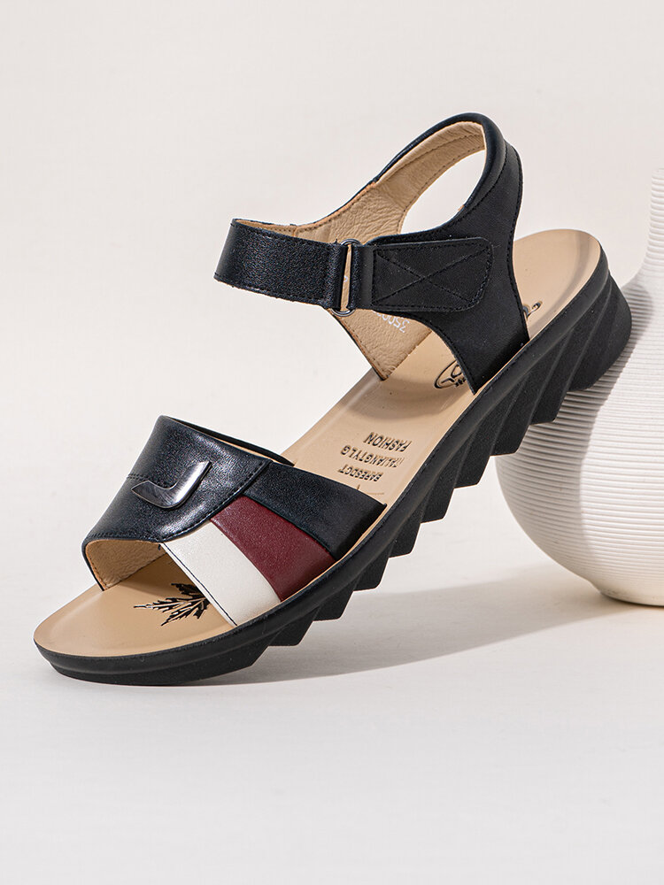 Large Size Women Daily Soft Leather ColorBlock Hook Loop Sandals