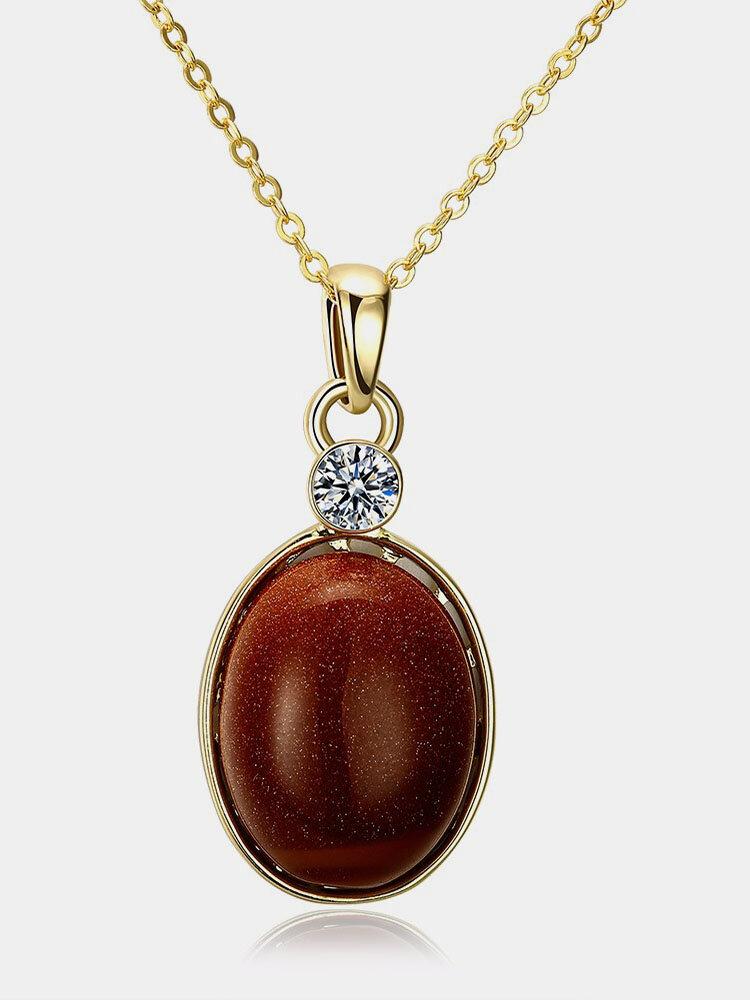 Luxury Stone Necklace Rhinestone Shining Gold Stone Necklace for Women Gift
