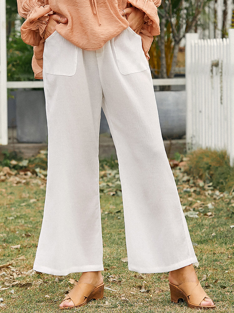 Solid Color Drawstring Pocket Loose Long Casual Pants for Women