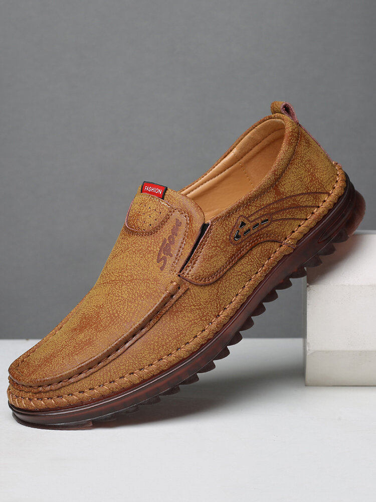 Men Comfy Microfiber Soft Sole Slip On Casual Leather Driving Shoes