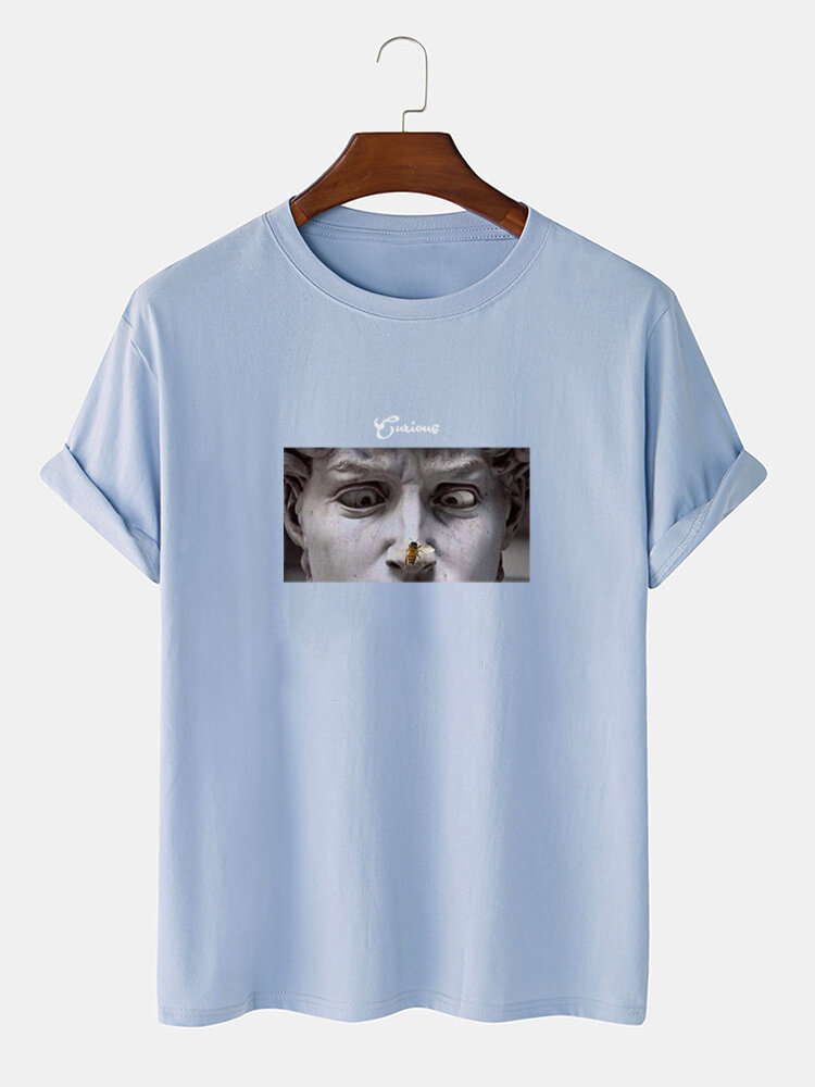 Mens Funny Figure Statue Graphic 100% Cotton Street Short Sleeve T-Shirts