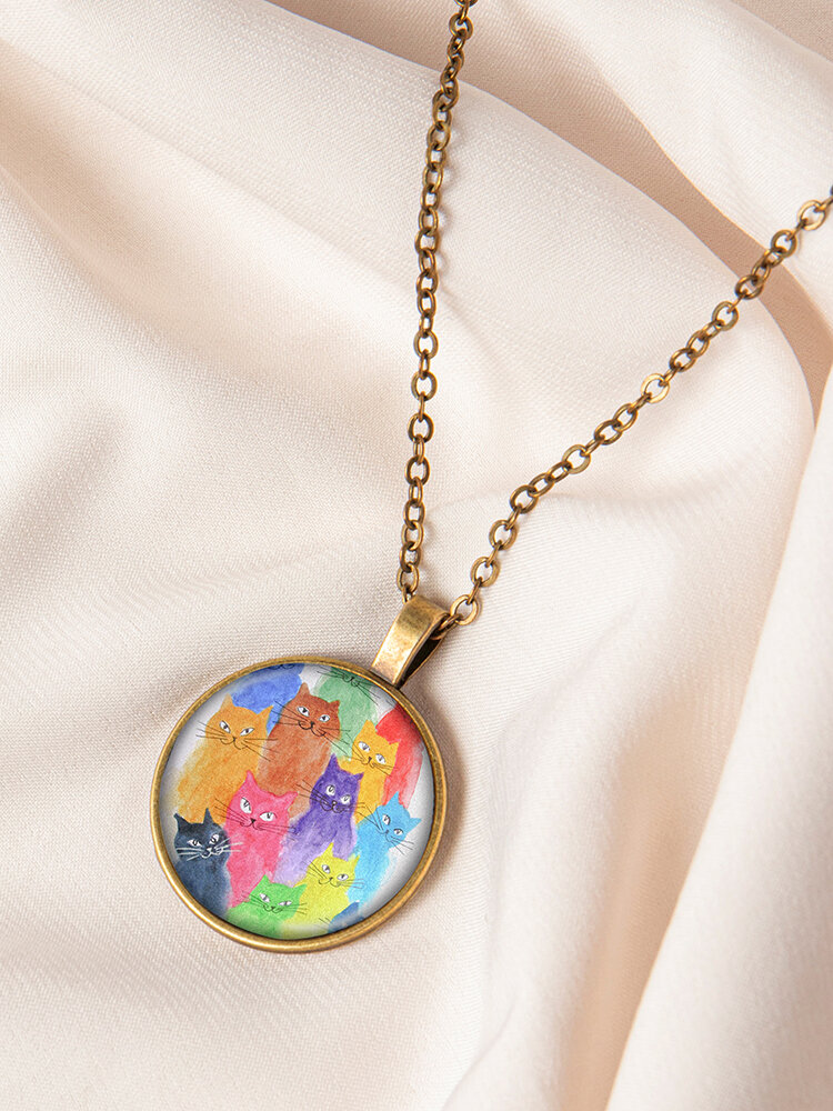 Geometric Round Glass Color Cat Print Women Pendant Necklace Jewelry Gift