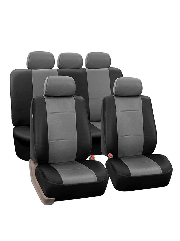 9Pcs/Set PU Leather Car Seat Detachable Covers Front Bucket Full Set Protector