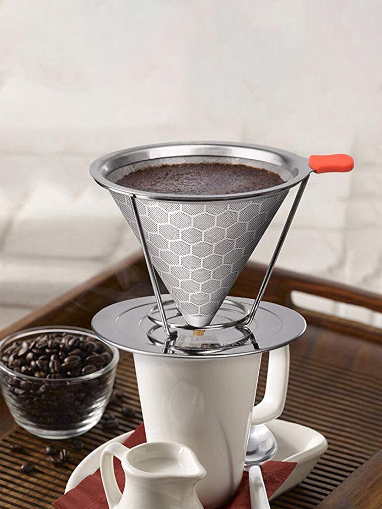 Сотовый фильтр для кофе из нержавеющей стали со съемным держателем чашки
