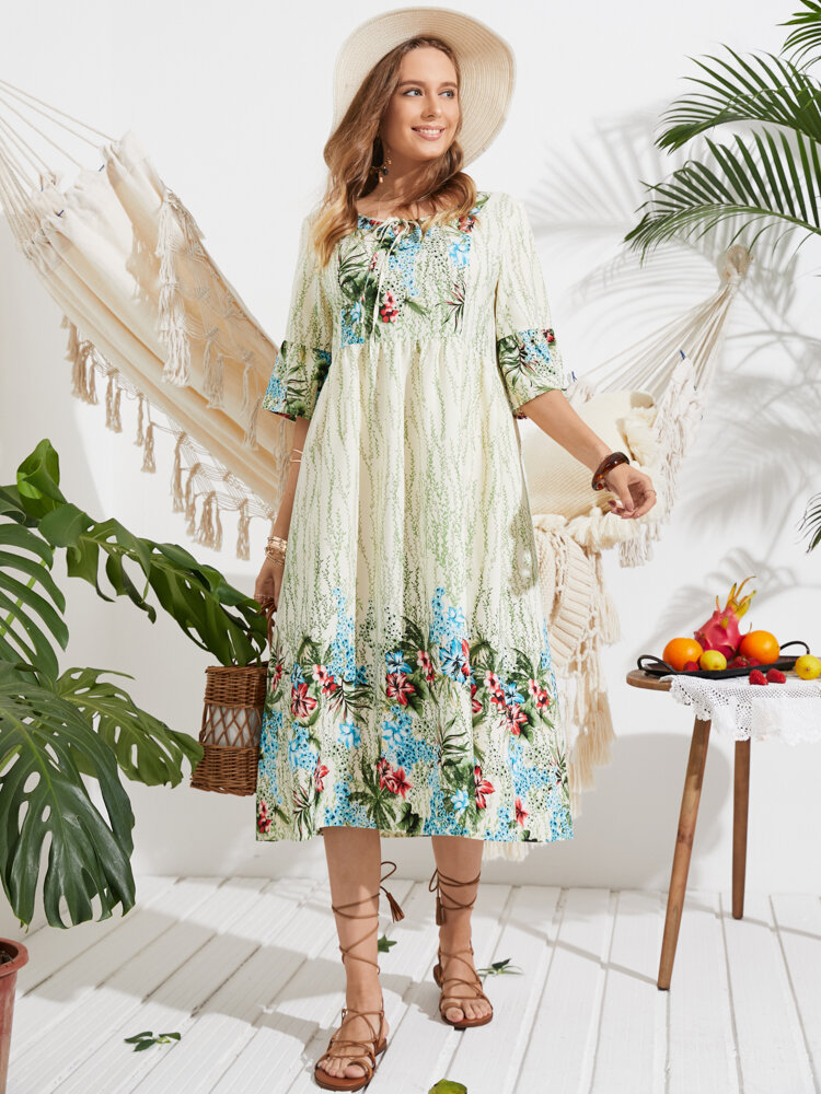 Flowers Print Knotted Short Sleeve Holiday Dress for Women