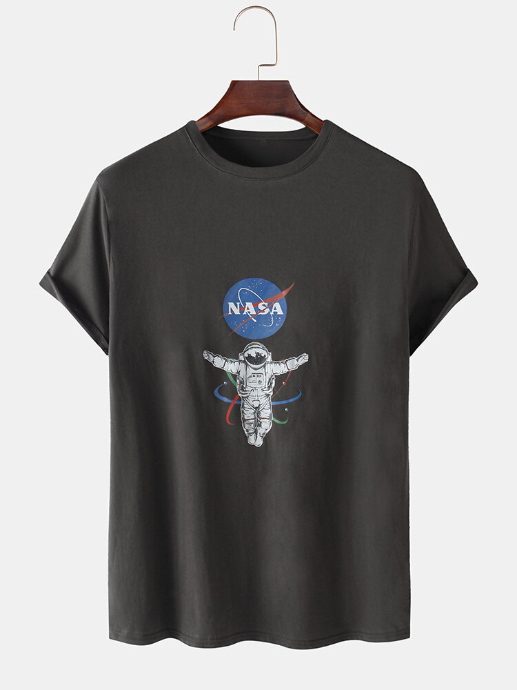 Mens NASA Astronaut Chest Print Solid Color Loose Light O-Neck T-Shirts