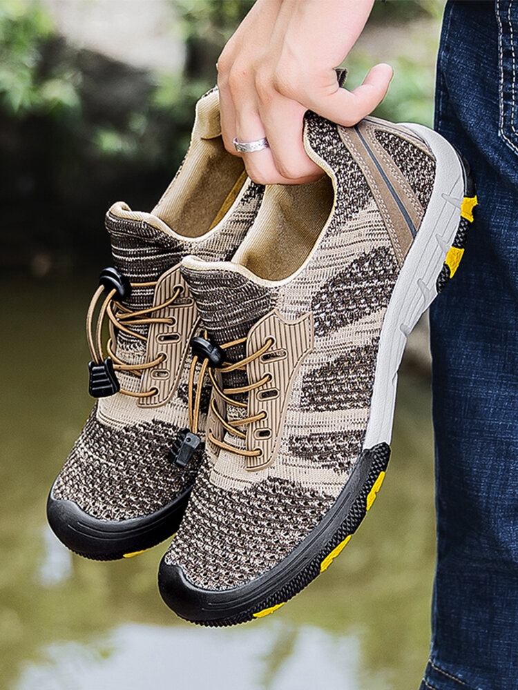 Men Anti-collision Breathable Knitted Fabric Outdoor Hiking Shoes