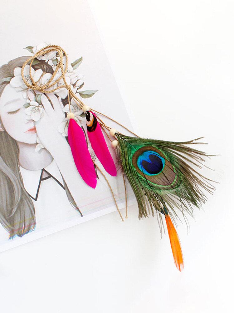 Bohemian Hair Accessories Beach Style Peacock Feather Hairwear