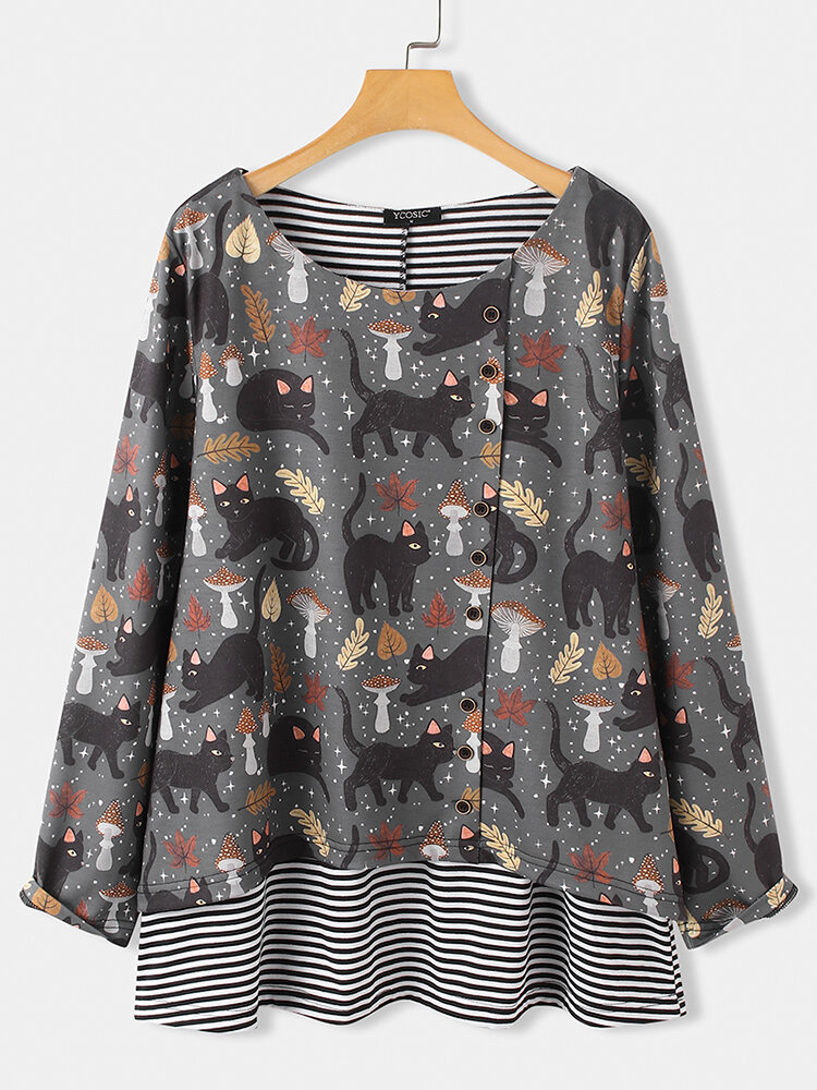 Cartoon Cat Printed Long Sleeve O-neck Striped Patchwork Blouse For Women
