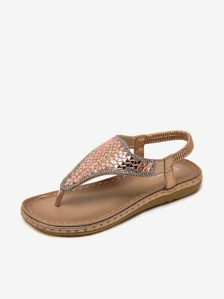 Sequined Casual Bohemian Clip Toe Casual Flat Sandals