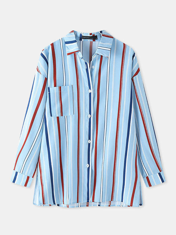 Color Contrast Striped Print Button Front Plus Size Shirt with Pocket