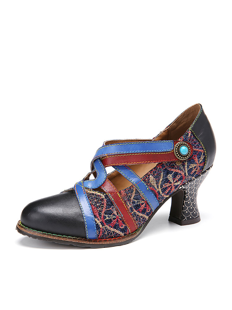 SOCOFY Retro Embroidery Splicing Round Toe Leather Colorblock Cross Strap Hook Loop Heels Shoes