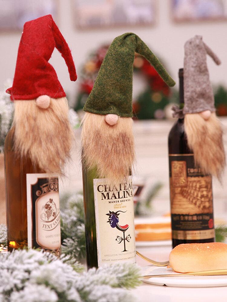 1 قطعة عيد الميلاد مجهولة الوجه العجوز دمية غطاء زجاجة النبيذ كيس النبيذ هدية حقيبة زينة