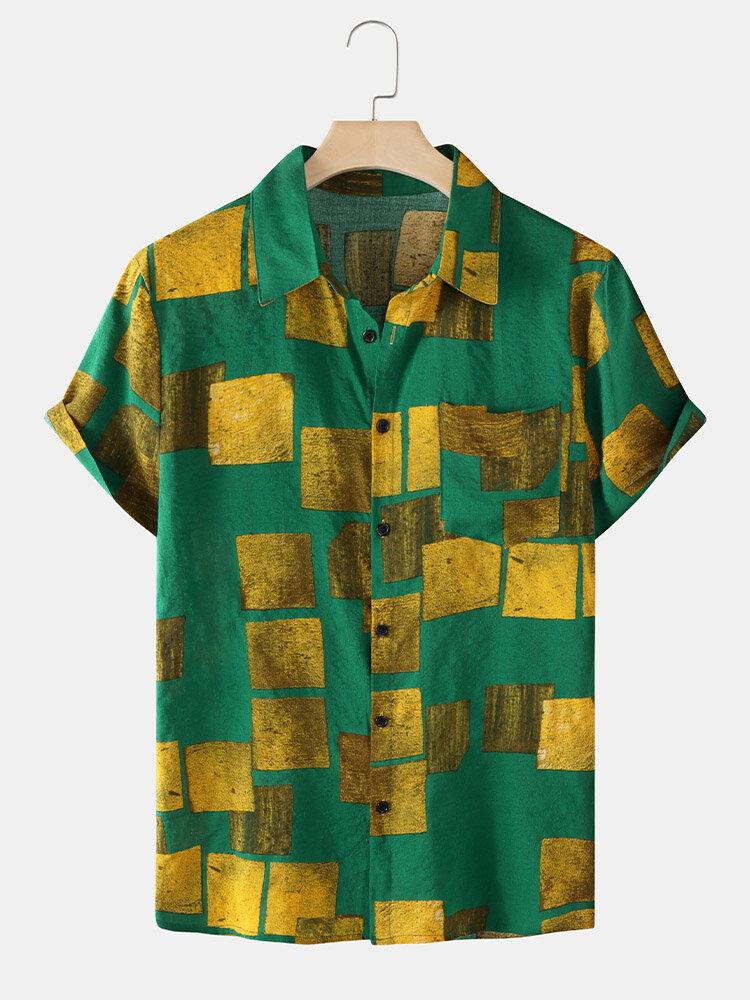 Mens Holiday Color Block Lapel Regular Hem Short Sleeve Shirt