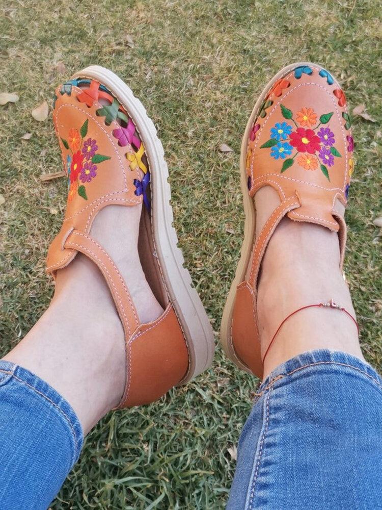 Große Größe Tägliche Blumen Gestickt Geschlossene Zehen Schnalle Riemen Flach Sandalen Für Damen