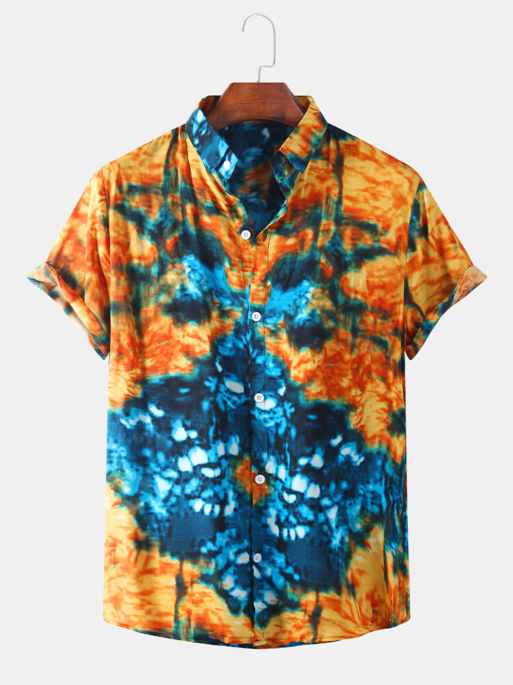 Mens Thin & Breathable Ethnic Tie-Dyed Gradient Printed Short Sleeve Shirt