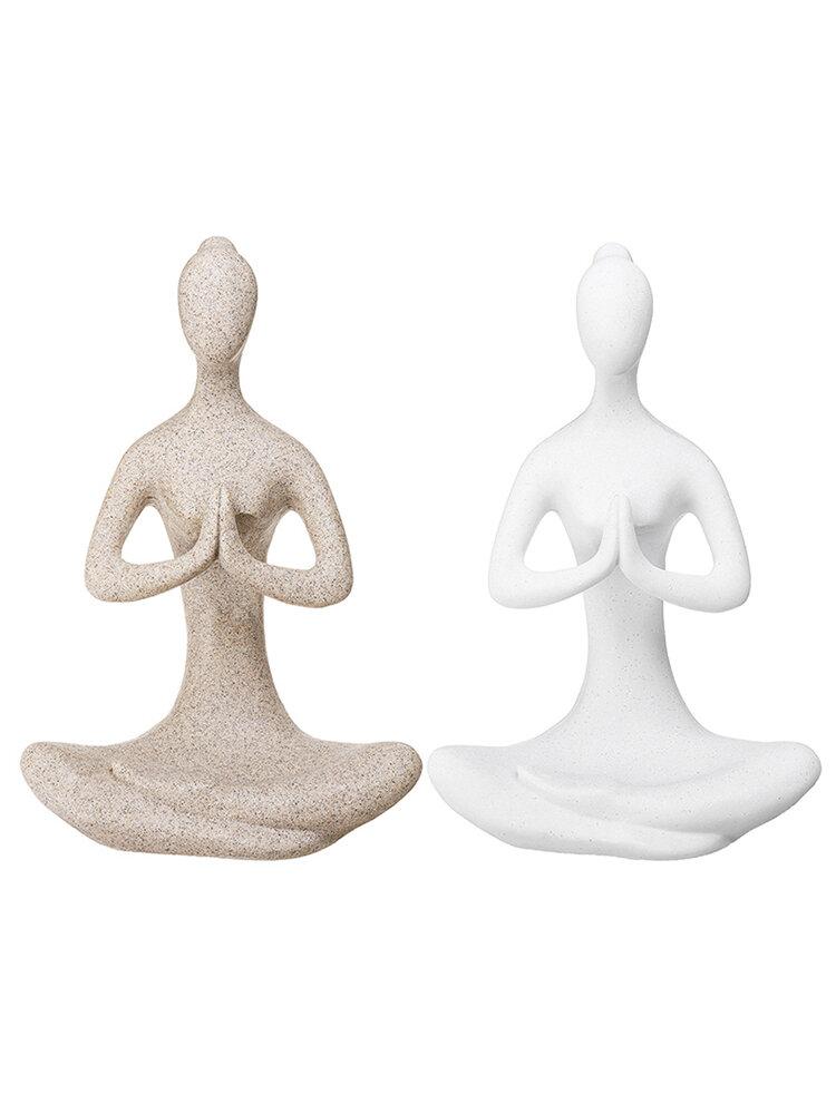 Yoga Lady Ornament Figurine Home Indoor Outdoor Garden Buddha Statue Desk Decoration