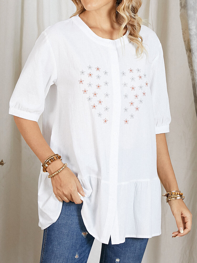 Floral Embroidery Half Sleeve Button O-neck Loose Blouse