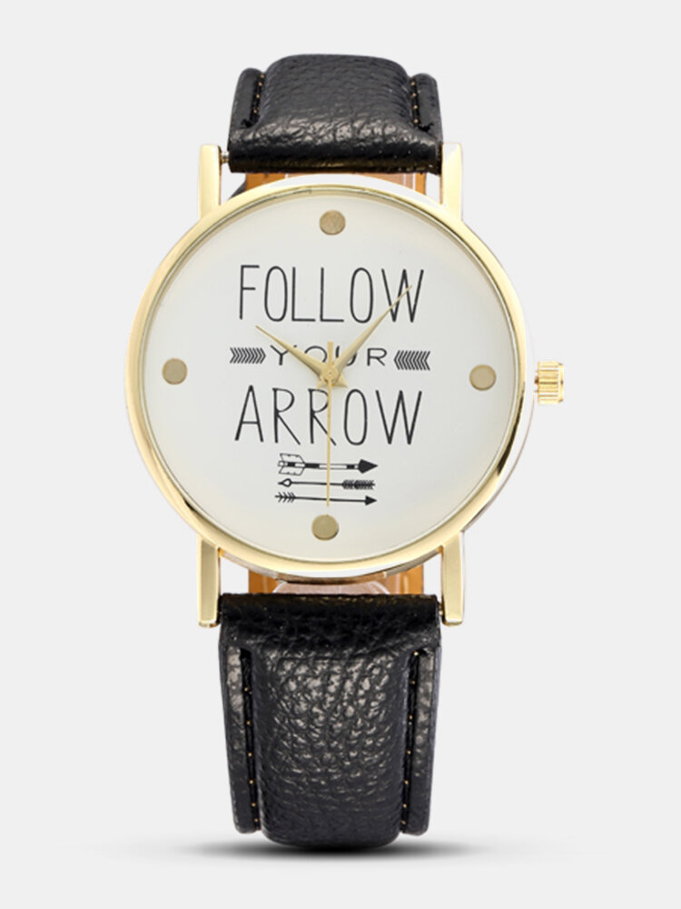 Simple PU Leather Follow Your Arrow Alloy Watch