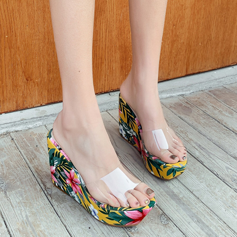 Women Summer Holiday Clear One Strap Wedges Heel Slippers