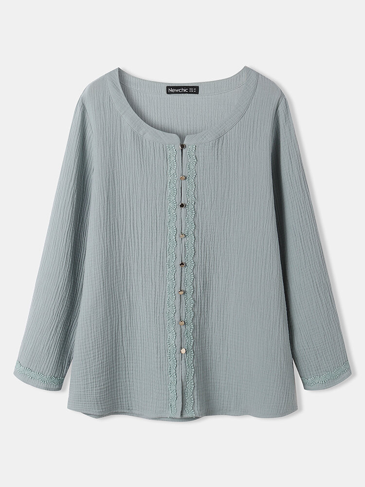 Solid Long Sleeve Button O-neck Lace Patchwork Women Blouse