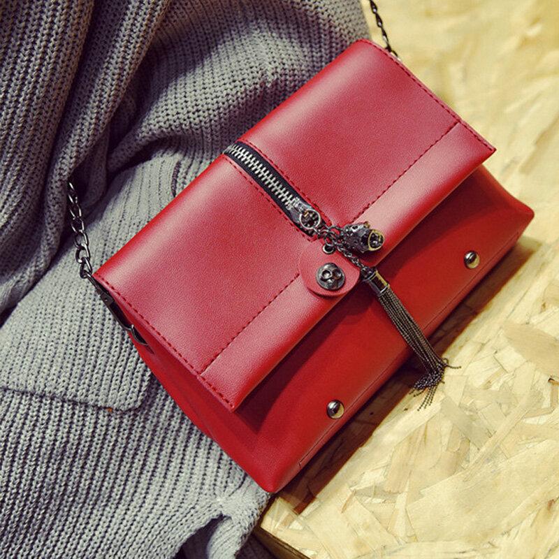 Women Tassel Little Square Clutches Bag PU Leather Crossbody Bag