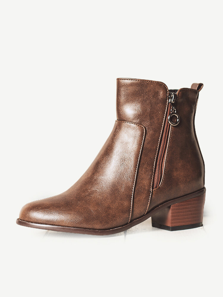 Large Size Women Retro Pu Leather Chunky Heel Zipper Ankle Boots