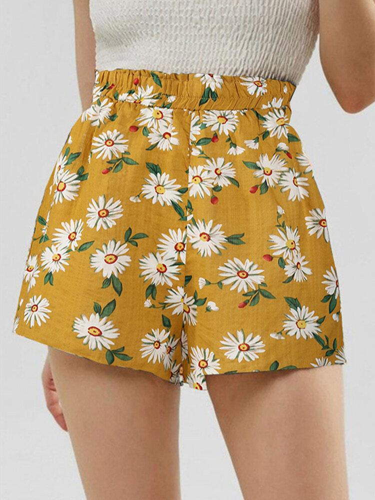 Bohemia Sunflower Print Short For Women