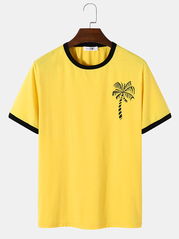 Mens Palm Tree Chest Print Casual Short Sleeve Ringer T-Shirts