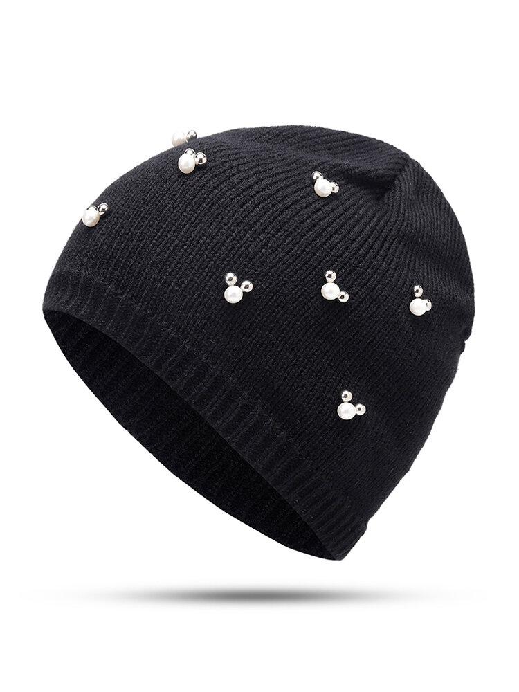Women Winter Warm Wool Knit Pearl Beanie Outdoor Travel Casual Snow Hat
