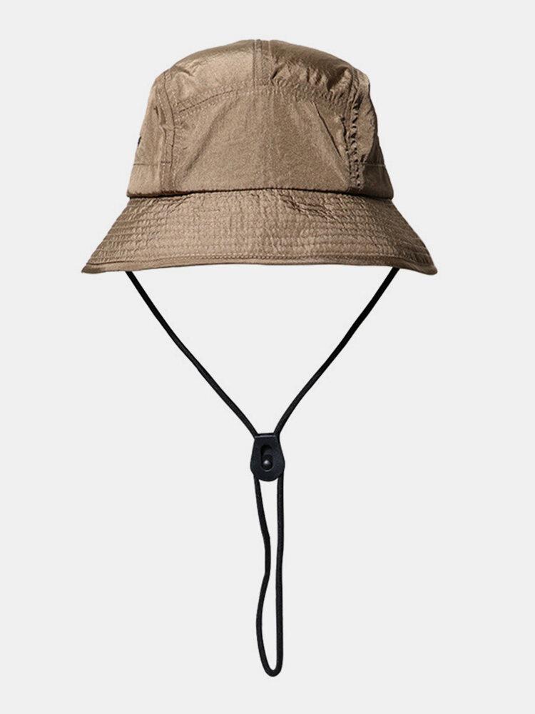 ユニセックスレトロソリッドヒップホップサンシェード調節可能な巾着バケットハット