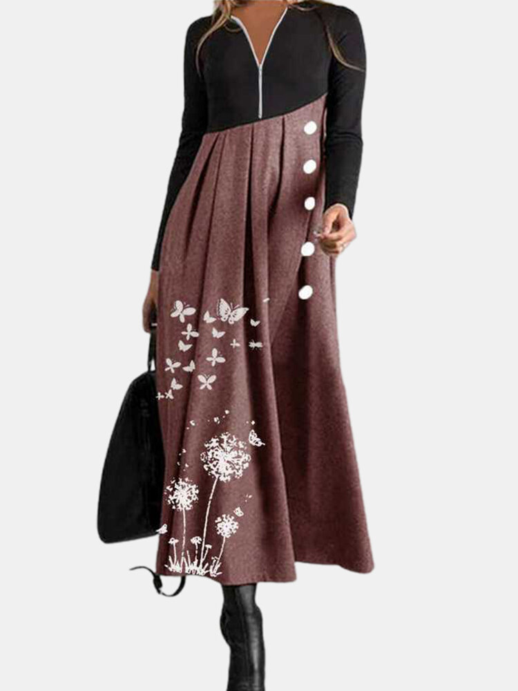 Calico Printed Long Sleeve V-neck Patchwork Dress For Women