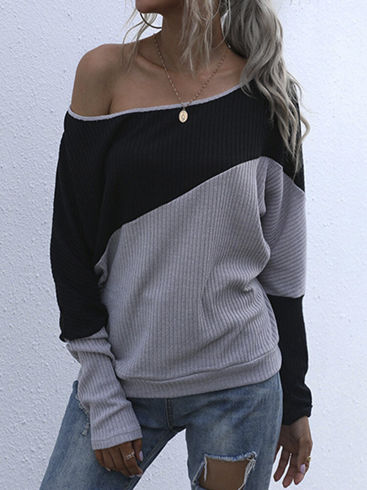 Contrast Color Off-Shoulder Sexy Basic Knit Blouse For Women