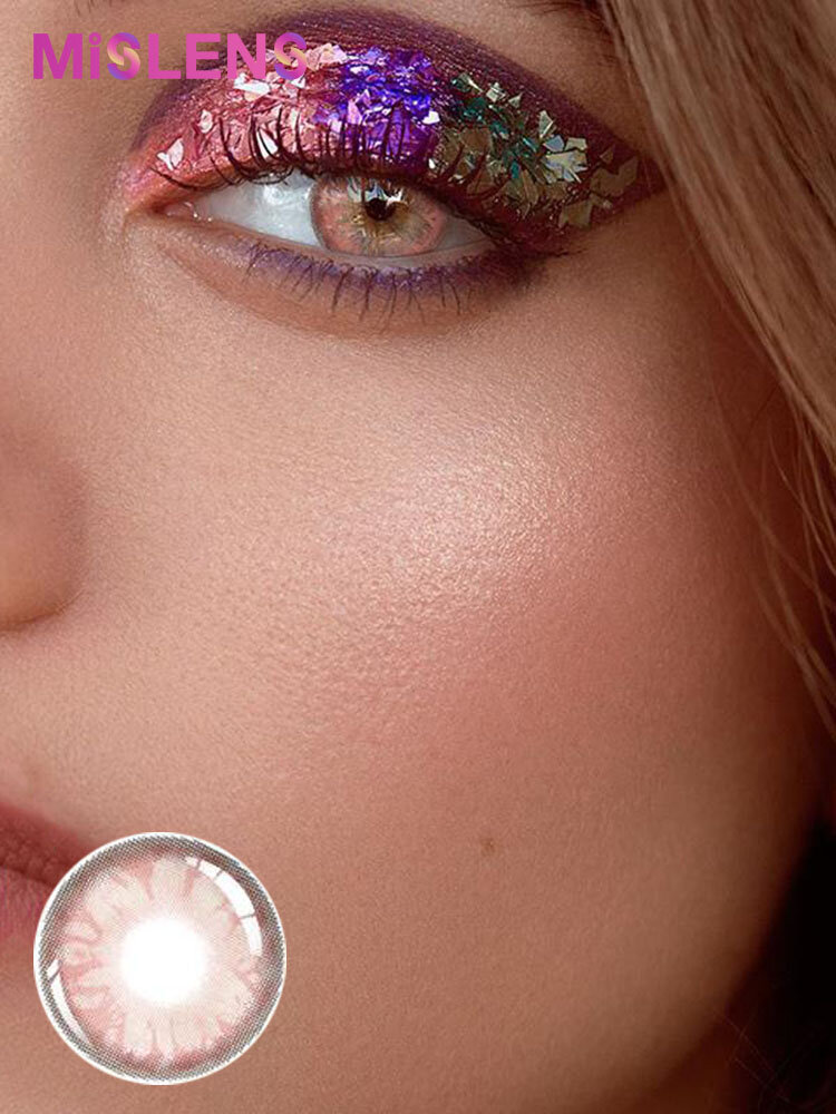 2 Pcs Gem Pink Non-Prescription Yearly Colored Contact Lenses