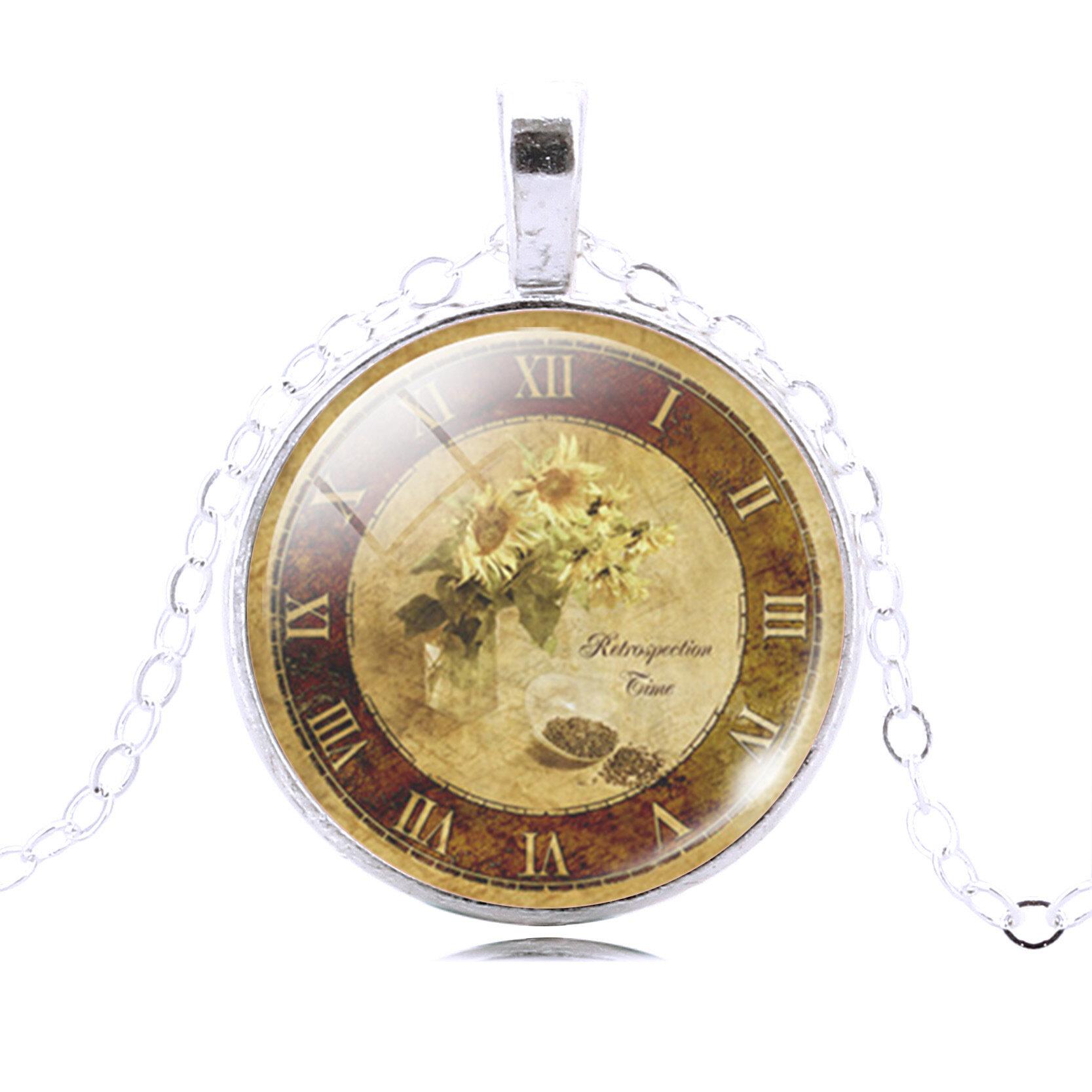 Glass Cabochon Time Gem Pocket Necklace