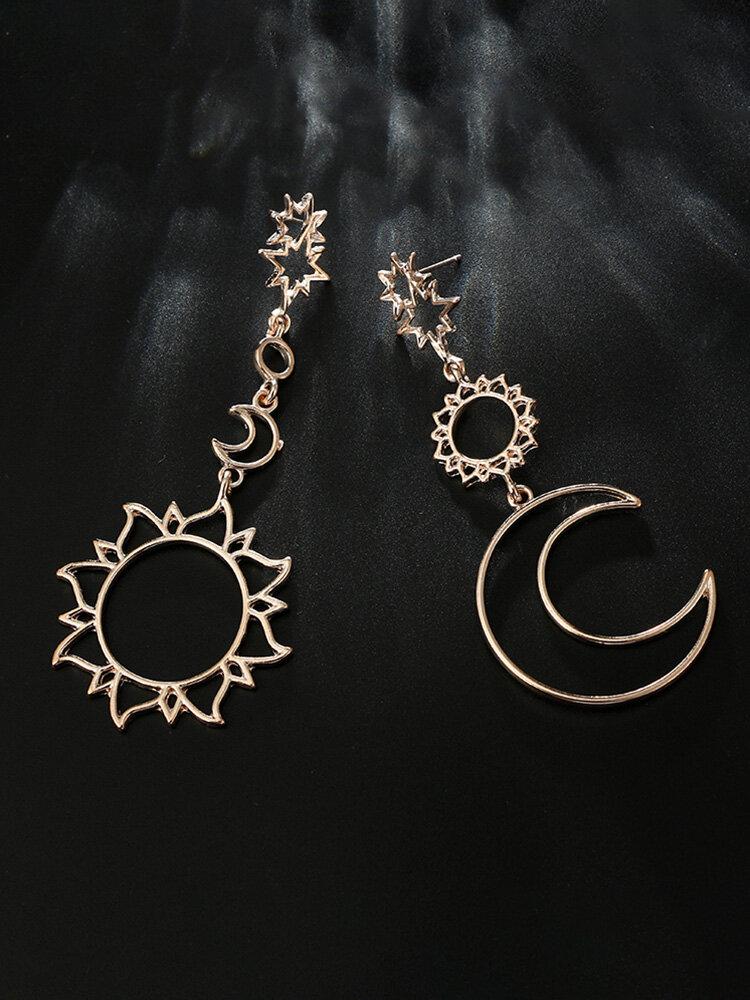 Bohemian Metal Hollow Asymmetric Flower Earrings Temperament Moon Sun Flower Pendant Earrings
