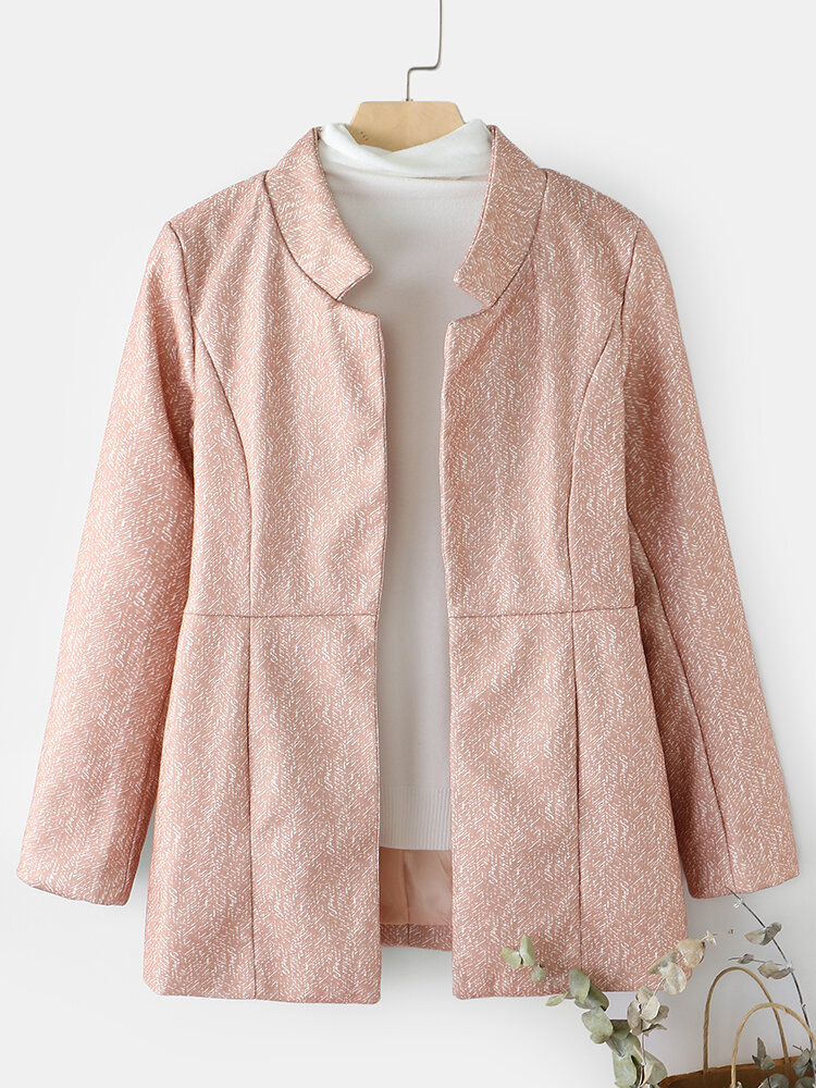 Striped Print Pocket Long Sleeve Casual Coat for Women