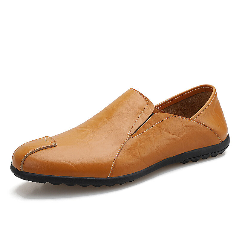 Men Microfiber Leather Non Slip Collapsible Heel Soft Sole Casual Loafers
