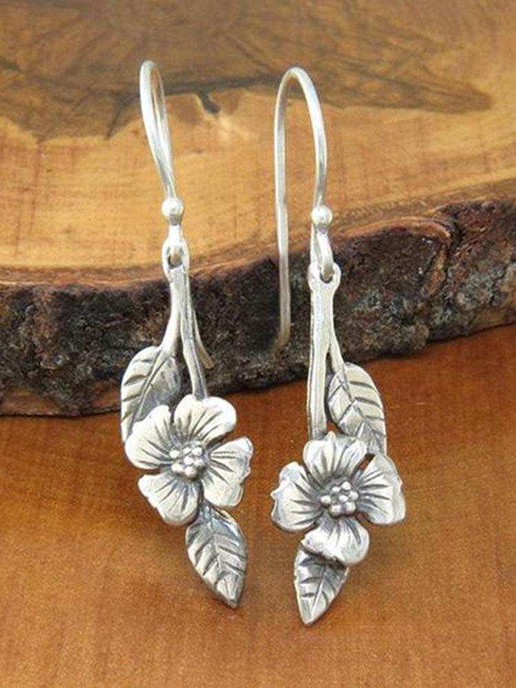 Vintage Rose Flower Leaf Women Earrings Two-Tone Symmetrical Pendant Earrings